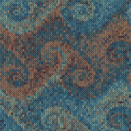 Dark tweed knit stitch effect vector texture. Masculine dark swirl seamless woven pattern. Hand knitting sweater material. Close up fabric textile craft background. Homespun wool allover print swatch. Çizim