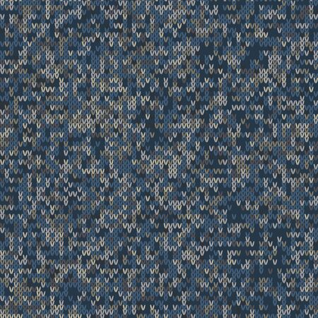 Dark tweed knit stitch effect vector texture. Masculine dark marl seamless melang pattern. Hand knitting sweater material. Close up fabric textile craft background. Homespun wool allover print swatch. Çizim