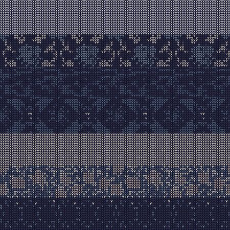 Masculine Stripe Knitted Marl Variegated Background. Winter Nordic Style Seamless Pattern. Indigo Blue Heather Blended Texture. For Tie Dye Effect Textile, Melange All Over Print. Vector Çizim