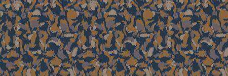 Vector camouflage spots texture banner background. Faux animal skin fabric style. Vector border pattern design. Camo military hide fabric ribbon trim. Melange space dye textile edge . Çizim