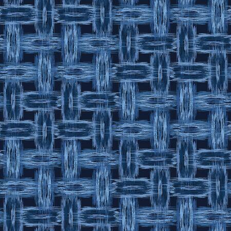 Boro Patch Woven Cloth Texture Pattern. Asian Indigo Dye Weave . Seamless Background for Textile Fabric Effect Print. Japan Criss Cross Line Decor. Modern Vintage Denim Blue Jean.