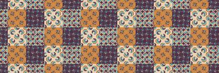 Mid Century Vector Patchwork Banner. Modern Vintage Pattern Border Quilt Background. Homespun Graphic Design. Seamless Edge Mosaic 1960s Style. Vintage Retro Geometric. Hipster Flat Color . Çizim