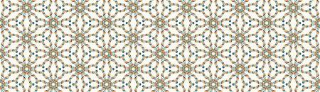 Mid Century Vector Modern Vintage Banner Pattern Background. Flower Masculine Edging Graphic Design. Seamless 1960 Style Retro Fabric Geometric Border. Hipster Beige Flat Color Ribbon Trim Edge . Çizim