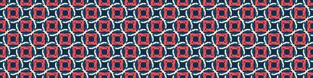 Classic Blue Polka Dot Hand Drawn Vector Spotty Seamless Border Pattern. Mariner Style Geometric Circle Banner Background. Indigo Red Dotted Interlocking Navy Blu Rope Texture Ribbon Trim Edge.