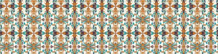Arabesque Persian Style Vector Vintage Banner Pattern Background. Damask Swirl Scarf Graphic Design. Seamless Border Retro Kaleidoscope Mosaic.Butah Ornate Washi Tape. Ethnic Flat Color Edging. Çizim