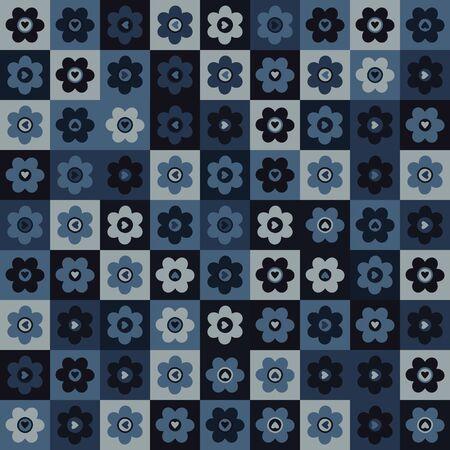Indigo blue heart mosaic vector seamless pattern. Hand drawn daisy dot valentines love background. Trendy monochrome masculine decorative paper all over print. Navy blu fashion.