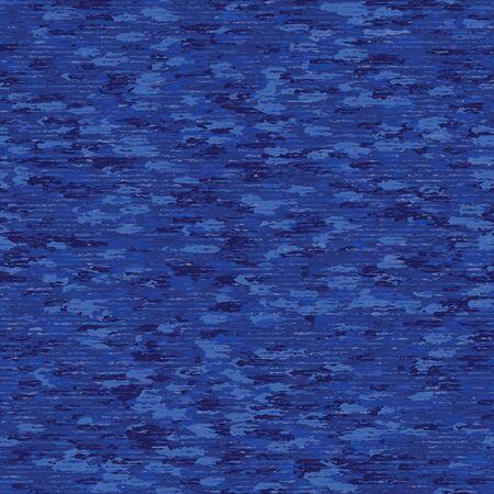 Classic blue blurred vector texture seamless pattern. Variegated soft blended rough water ripple background. Denim indigo masculine grunge abstract. Melange japanese dark mottled effect repeat swatch Çizim