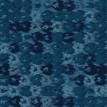 Classic blue blurred vector texture seamless pattern. Variegated soft blended marble dyed background. Denim indigo masculine grunge abstract. Melange japanese dark grunge effect repeat swatch Çizim