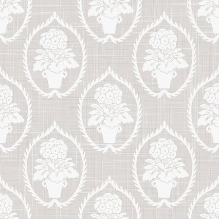 Gray french linen texture background printed with white primrose motif. Natural ecru antique medallion seamless pattern. Organic woven leaf foulard paisley wallpaper, vintage homespun textile damask.
