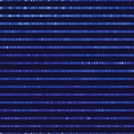 Classic blue spliced vector broken pixel texture. Variegated mottled dotted line background. Seamless futuristic stripe pattern. Distorted masculine shirting allover print. Disrupted glitch dye repeat