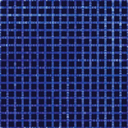 Classic blue spliced vector criss cross grid texture. Variegated mottled dotted background. Seamless tartan plaid pattern. Distorted masculine shirting allover print. Disrupted gingham dye repeat