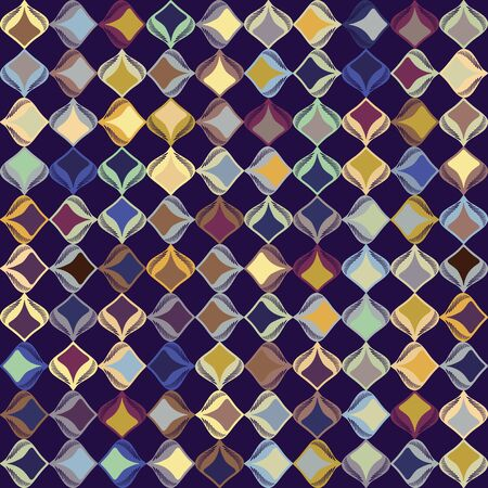 Dark stylized leaf mosaic vector seamless pattern. Hand drawn art deco style geometric square background. Trendy masculine vintage shirting fashion swatch. Moody decorative tile paper all over print.