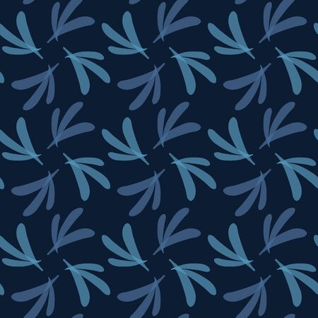 Dark classic blue simple swirl leaf grid vector texture seamless pattern. Variegated soft blended geo dyed background. Denim indigo masculine abstract. Japanese style geometric graphic repeat swatch