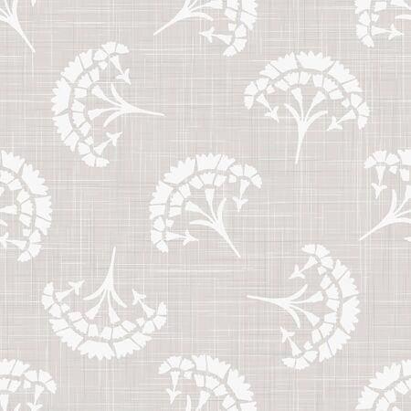 Gray french linen texture background printed with white carnation motif. Natural ecru antique medallion seamless pattern. Organic woven leaf foulard paisley wallpaper, vintage homespun textile decor.