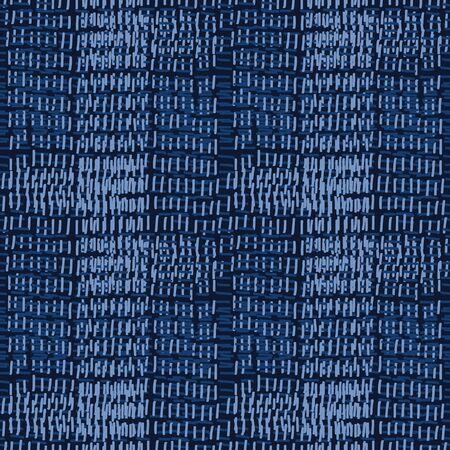 Embroidery boro patch kantha vector pattern. Asian needlework seamless background indigo blue style. Sashiko running hand stitch. Texture textile print. Japan decor. Masculine ethnic quilting tile