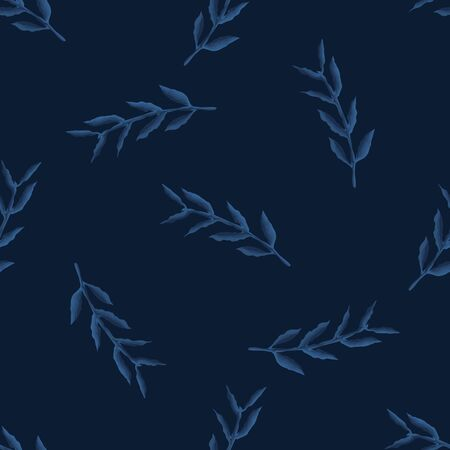 Dark classic blue watercolor leaf vector texture. Seamless tossed simple pattern. Variegated nature background. Denim indigo dyed effect masculine graphic. Japanese style kimono textile repeat swatch