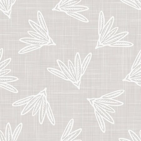 Gray french linen texture background printed with white daisy flourish. Natural ecru summer country style seamless pattern. Organic yarn close up woven leaf wallpaper, vintage homespun textile decor.