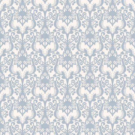 French shabby chic damask vector texture background. Dainty flower in blue and yellow on off white seamless pattern. Hand drawn floral interior home decor swatch. Classic farmouse style all over print  イラスト・ベクター素材