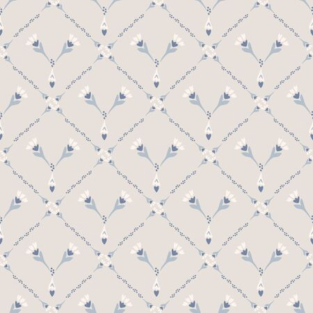 French shabby chic azulejos tile vector texture background. Trellis grid yellow blue on off white seamless pattern. Hand drawn diamond mosaic interior home decor swatch. Classic style allover print