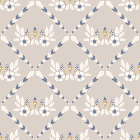 French shabby chic azulejos tile vector texture background. Dainty flower yellow blue on off white seamless pattern. Hand drawn floral mosaic interior home decor swatch. Classic style allover print