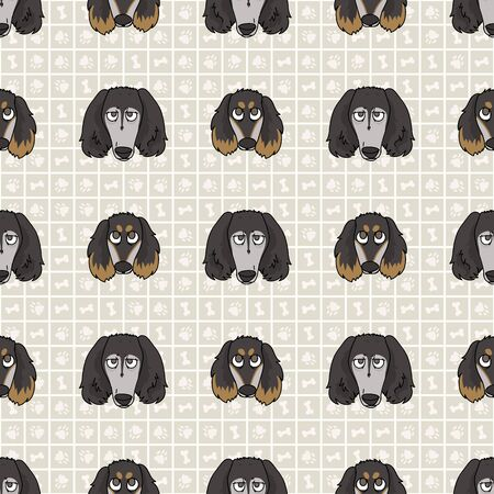 Hand drawn cute saluki breed dog and puppy face seamless vector pattern. Purebred pedigree domestic dog on paw background. Dog lover pet all over print. Kennel pooch. EPS 10.