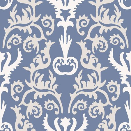 French blu shabby chic damask vector texture background. Antique ecru blue flourish seamless pattern. Hand drawn ornate floral interior wallpaper home decor swatch. Classic baroque style allover print
