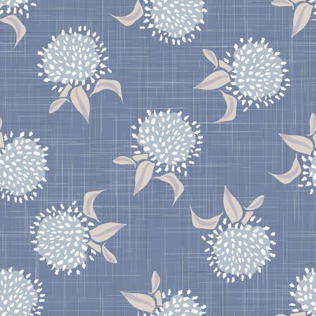 French shabby chic floral linen vector texture background. Pretty dandelion flower on blue seamless pattern. Hand drawn floral interior home decor swatch. Classic rustic farmhouse style all over print