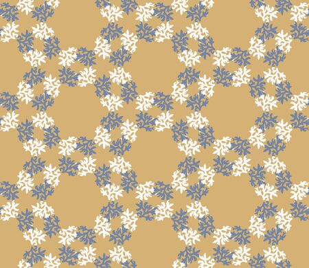 French shabby chic damask vector texture background. Dainty flower in blue yellow on off white seamless pattern. Hand drawn floral interior home decor swatch. Classic farmhouse style all over print