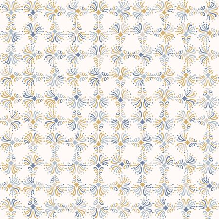 rench shabby chic azulejos tile vector texture background. Trellis grid yellow blue on off white seamless pattern. Hand drawn square mosaic interior home decor swatch. Classic style all over print