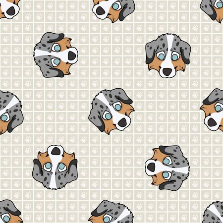 Hand drawn cute australian shepherd breed puppy face seamless vector pattern. Purebred pedigree domestic dog paw background. Dog lover Australia hunting pet all over print. Kennel pooch. EPS 10.