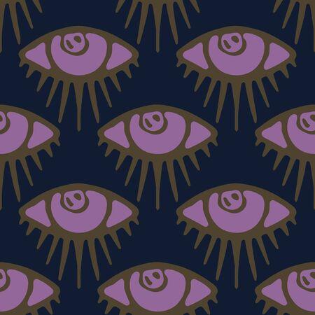 Dark hand drawn magic third eye seamless pattern. Spiritual magical human eyes vector texture background. Esoteric symbol of protection. Modern mythic graphic backdrop