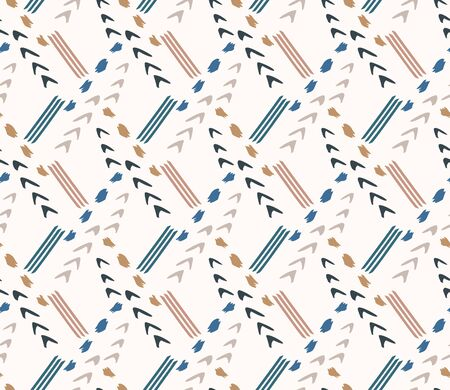 Hand drawn whimsical scribble lines seamless pattern. Vector painterly textured organic arrow doodle marks background. Playful gender neutral abstract geometric sketchy repeat. Ethnic all over print. Ilustração Vetorial