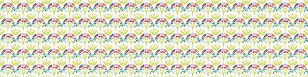 Fresh spring carnation damask border background. Bright stylized floral summer motif medallion seamless banner pattern. Vintage ornate flower paisley edging, textile home decor or flourish trim.