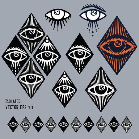 Dark hand drawn magic third eye clipart motif set. Spiritual magical human eyes vector icons. Esoteric symbol of protection line art.