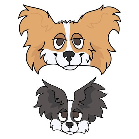 Cute cartoon papillon dog and puppy face vector clipart. Pedigree kennel doggie breed for dog lovers. Purebred domestic puppy for pet parlor illustration mascot. Isolated canine fluffy. EPS 10.