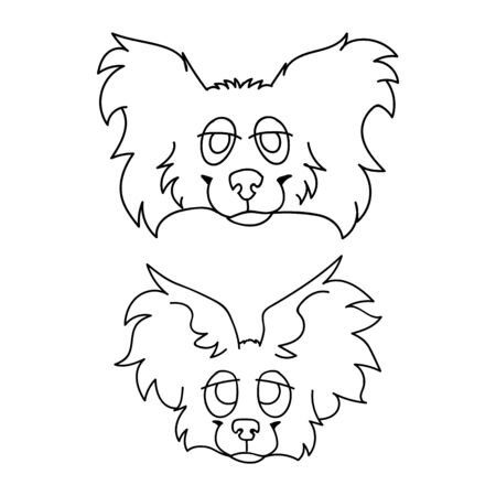 Cute cartoon papillon dog and puppy face monochrome lineart vector clipart. Pedigree kennel puppy breed dog lovers. Purebred domestic puppy for pet parlor illustration. Isolated canine fluffy.