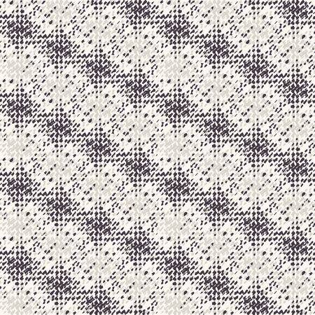 Monochrome broken glitch stripe texture background. Distressed diagonal dashed line dotted seamless pattern. Black and off white distortion vector melange all over print. Masculine shirting style