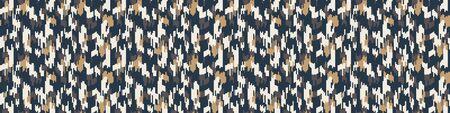 Camouflage-Vektor-grauer Mergel melierter Textur-Banner-Hintergrund. Vertikaler T-Shirt-Stil aus Kunstbaumwolle. Vektor-Grenzmuster-Design. Camouflage grau melange Space Dye Textilband Zierkante
