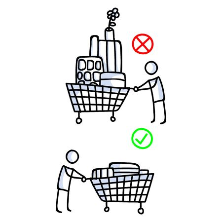 Corona virus covid 19 stickman shopping cart infographic. Right and wrong shopping. Medical healthcare graphic clip art. Icon set in black white. Viral shopping drop off community support help