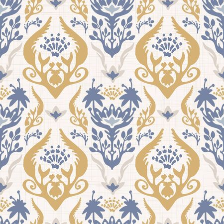 French shabby chic damask vector texture background. Antique white yellow blue flourish seamless pattern. Hand drawn floral interior wallpaper home decor swatch. Classic baroque style all over print 일러스트