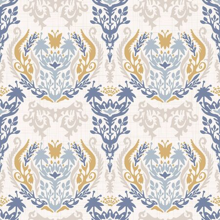 French shabby chic damask vector texture background. Antique white yellow blue flourish seamless pattern. Hand drawn floral interior wallpaper home decor swatch. Classic baroque style all over print  イラスト・ベクター素材