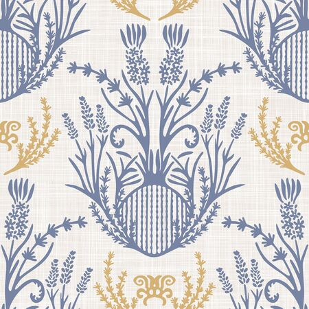 French shabby chic lavender damask vector texture background. Antique white yellow blue seamless pattern. Hand drawn floral interior wallpaper home decor swatch. Classic baroque herbal all over print 일러스트