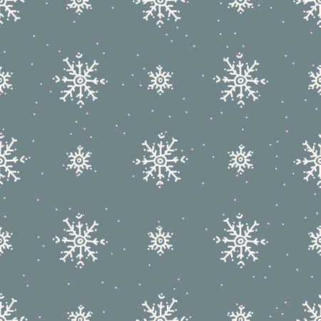 Seamless christmas snowflake holiday background. Simple snow monochrome festive pattern texture. Scandi christmas motif background. Stylish modern seasonal gift wrapping paper.