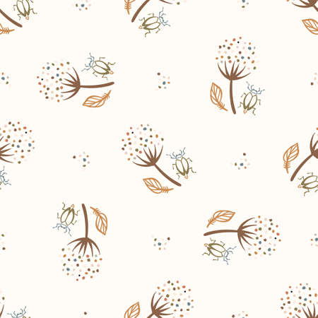 Seamless background flower bug gender neutral baby pattern. Simple whimsical minimal earthy 2 tone color. Kids nursery wallpaper or boho wildlife nature fashion all over print. 向量圖像