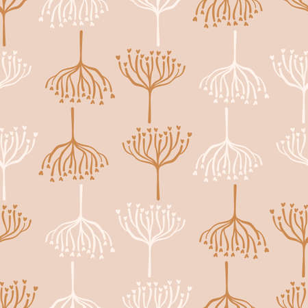 Seamless background woodland tree gender neutral baby pattern. Simple whimsical minimal earthy 2 tone color. Kids nursery wallpaper or boho woodland nature fashion all over print.
