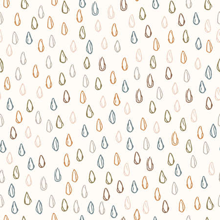 Seamless background falling rain gender neutral baby pattern. Simple whimsical minimal earthy 2 tone color. Kids nursery wallpaper or boho raindrop fashion all over print. 向量圖像