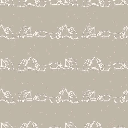 Seamless penguin fishing background pattern. Simple gender neutral nursery festive scrapbook digital paper. Kids whimsical snow animal wallpaper all over print.