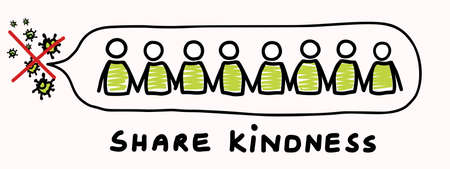 Corona virus crisis, share kindness. Covid 19 stickman infographic. Community world wide help social media clipart. Viral pandemic support message. Outreach in this together concept poster banner.