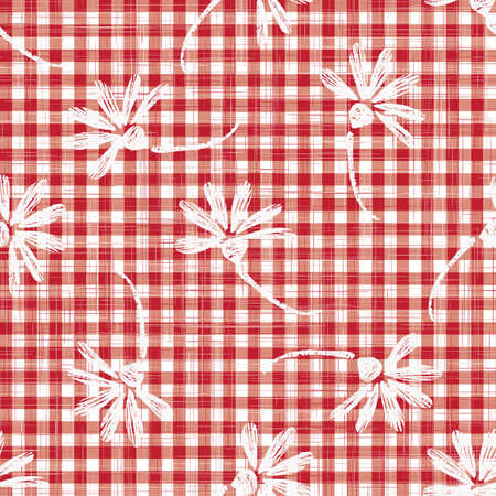 1950s Gingham Seamless Repeat Pattern Background. Red and White Printed with Daisy Motif. Classic Retro Fashion, Picnic Table Cloth Textile Fabric. Vintage Apron Style. Archivio Fotografico