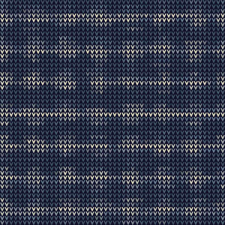 Masculine Bleach Dot Stripe Knitted Marl Variegated Background. Winter Nordic Seamless Pattern. Indigo Blue Faded Jean Texture. For Tie Dye Effect Textile, Melange All Over Print.